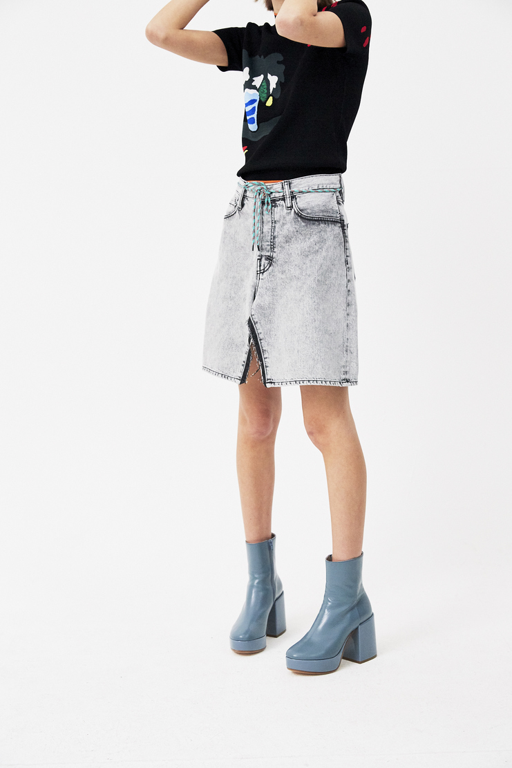 ARIES Black Open Jeans Skirt new arrivals S/S 18 spring summer 18 pre collection Machine A SHOWstudio skirts womens SOAR32204