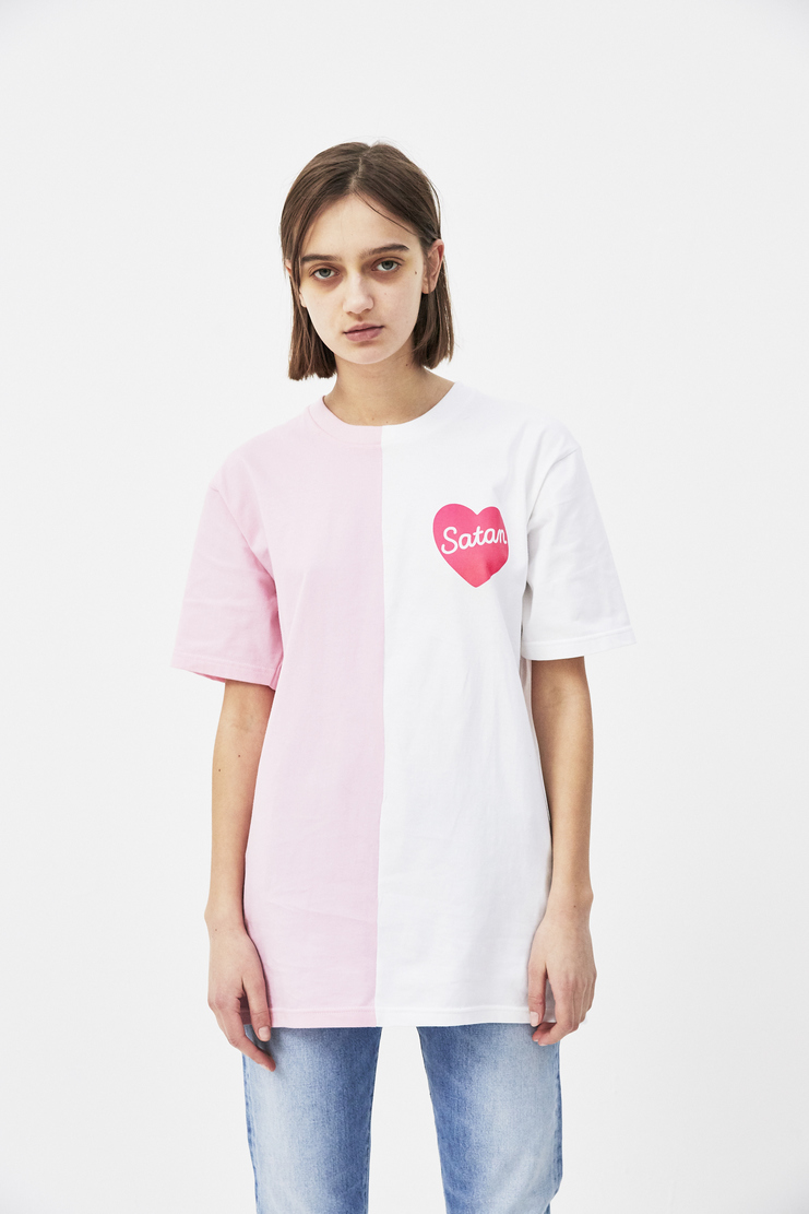 Satan's School for Girls Pink Half and Half T-shirt ss18 spring summer 18 tee white black monochrome MS18-0579