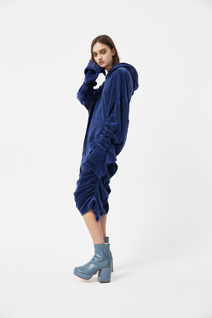 Paula Knorr Dark Blue Soft Sleeve Dress Hoodie Ruffled s/s 18 spring summer 18 machine a new arrivals PK-SS18-SOS-D