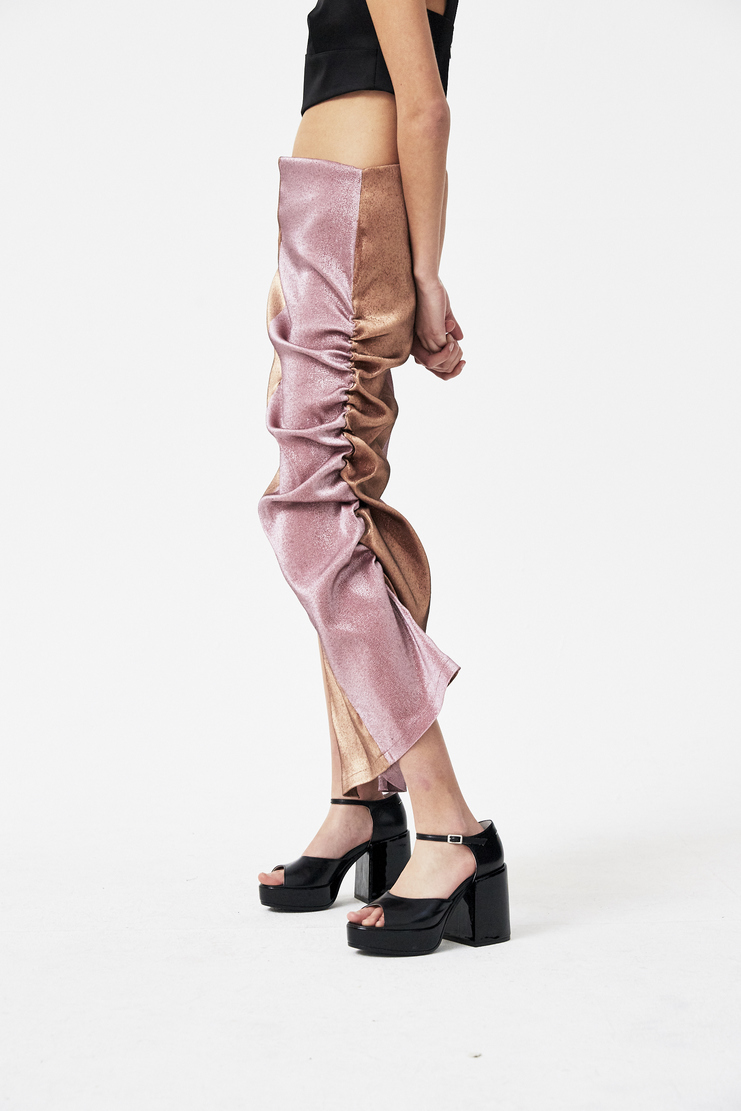 Paula Knorr Bronze and Pink Stretch Lame Skirt s/s 18 spring summer 18 machine a new arrivals PK-SS18-SLS-TT