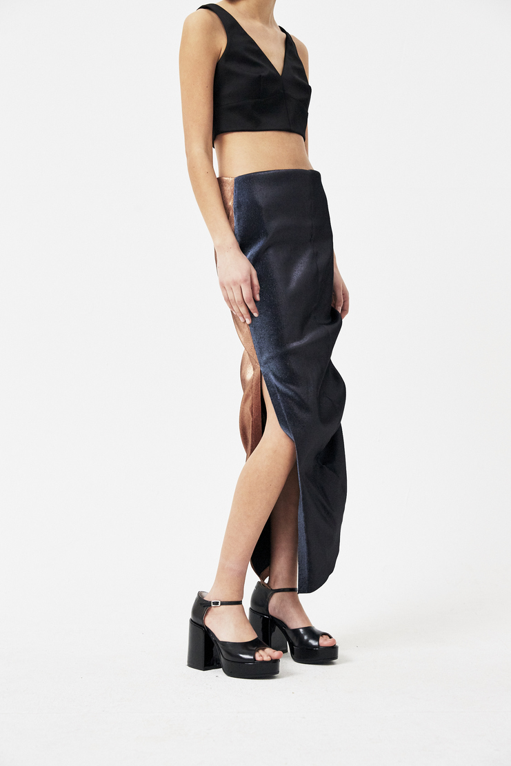 Paula Knorr Bronze and Blue Stretch Lame Skirt s/s 18 spring summer 18 machine a new arrivals PK-SS18-SLS-TT