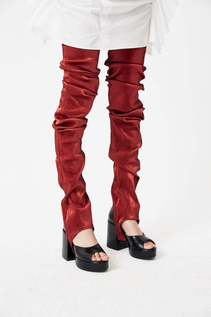 Paula Knorr Knor Red Ruffled Legwarmers s/s18 spring summer 18 machine a new arrivals PK-SS18-RL