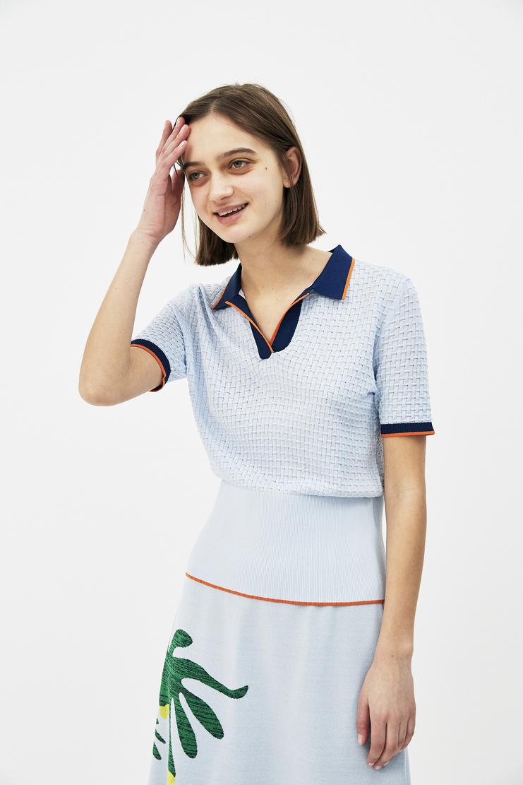 I Am Chen Blue Polo shirt Solid S/S 18 Spring summer 2018 Machine A Show studio New arrivals CZJ181004