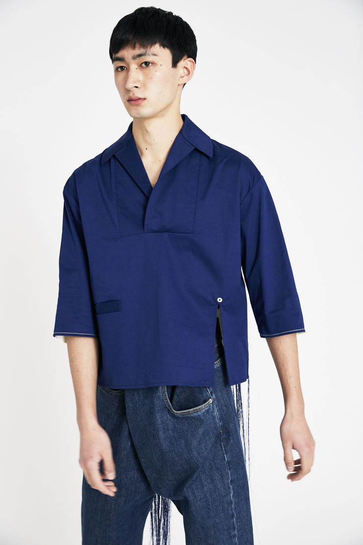 Ximon Lee White and Blue Tattoo Shirt new arrivals S/S 18 spring summer Machine A SHOWstudio shirts mens T002_HSH