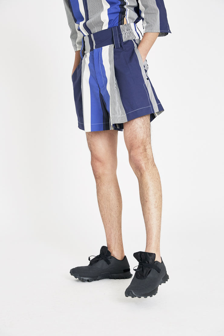 Ximon Lee Blue Striped Summer Shorts S/S 18 spring summer collection new arrivals Machine A SHOWstudio B003_MLP mens short shorts