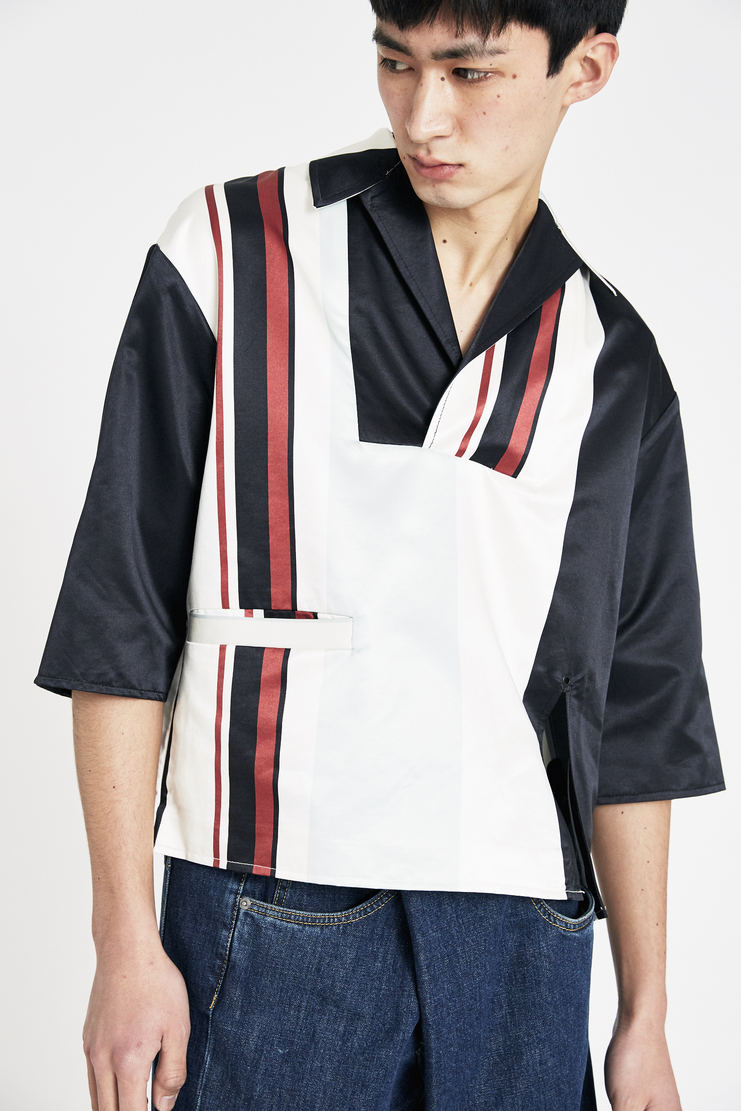 Ximon Lee Dark Navy Striped Pullover  S/S 18 spring summer collection new arrivals Machine A SHOWstudio T002_BLP mens shirt pullovers