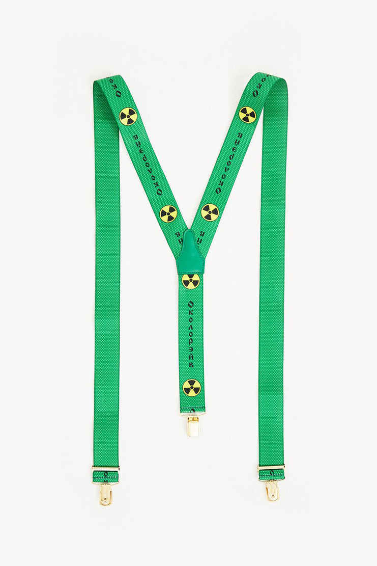 Gosha Rubchinskiy Green Printed Suspenders new arrivals spring summer S/S 18 collection SHOWstudio Machine A mens belts G012BT01