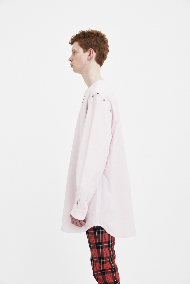 Raf Simons pink shirt with press button sleeve Machine A Show studio new arrivals S/S spring summer 18 181-225-10000-00034