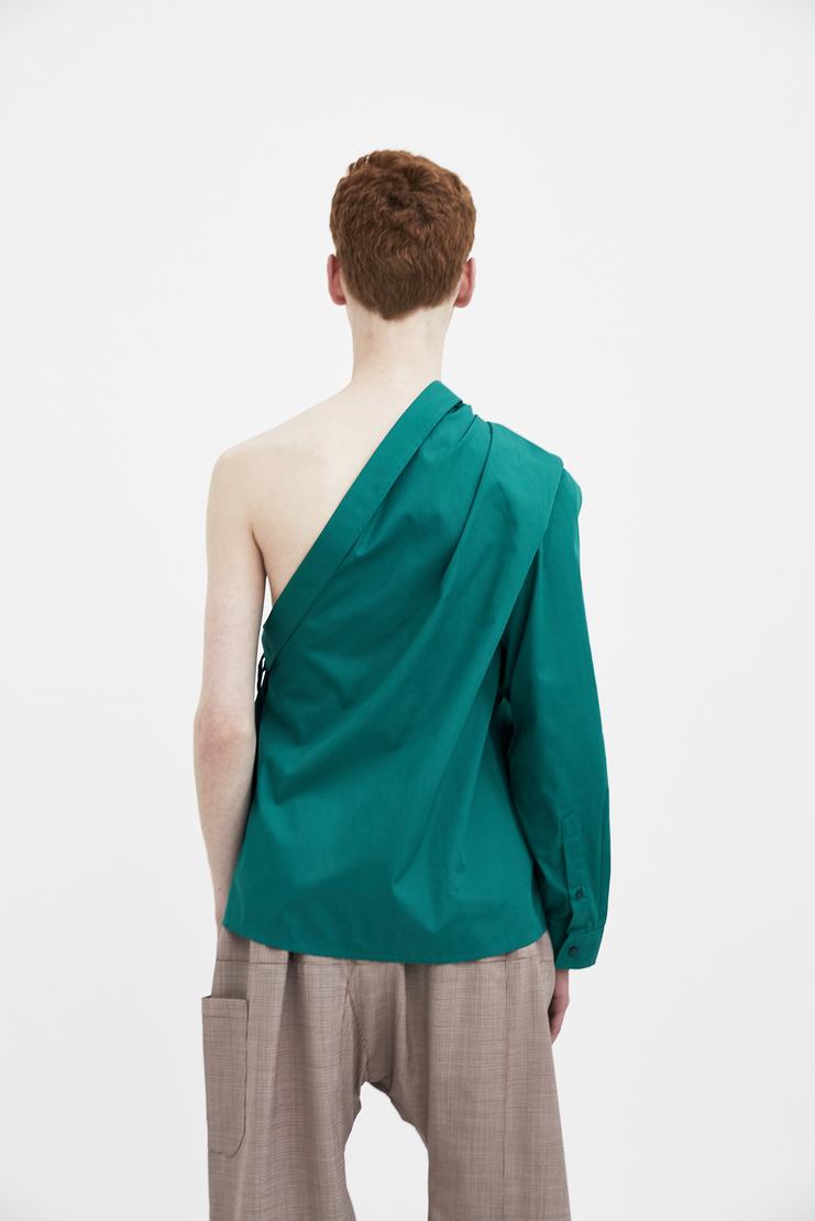 Raf Simons green shirt with asymmetric collar Machine A Showstuido New arrivals S/S spring summer 18 181-226-15010-00020