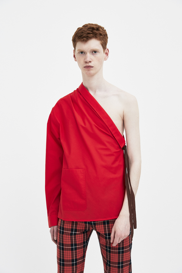 Raf Simons red shirt with Asymmetric collar Machine A Showstuido New arrivals S/S spring summer 18 181-226-15010-00030
