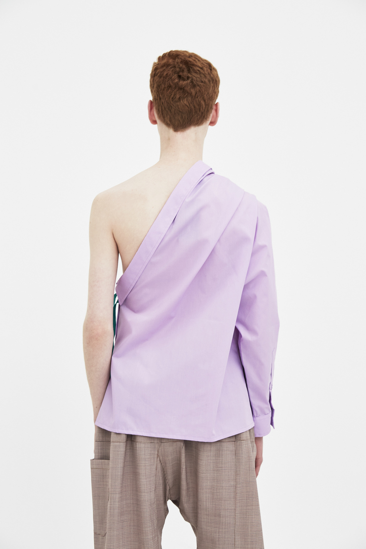 Raf Simons Lilac shirt with Asymmetric collar Machine A Showstuido New arrivals S/S spring summer 18 181-226-15010-00053