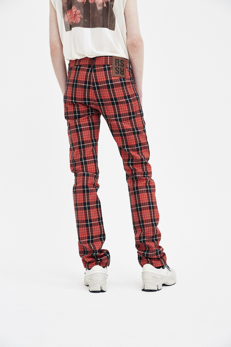 Raf simons new arrivals machine a showstudio S/S spring summer 18 Red and black denim regular fit pants 181-309-10034-09930