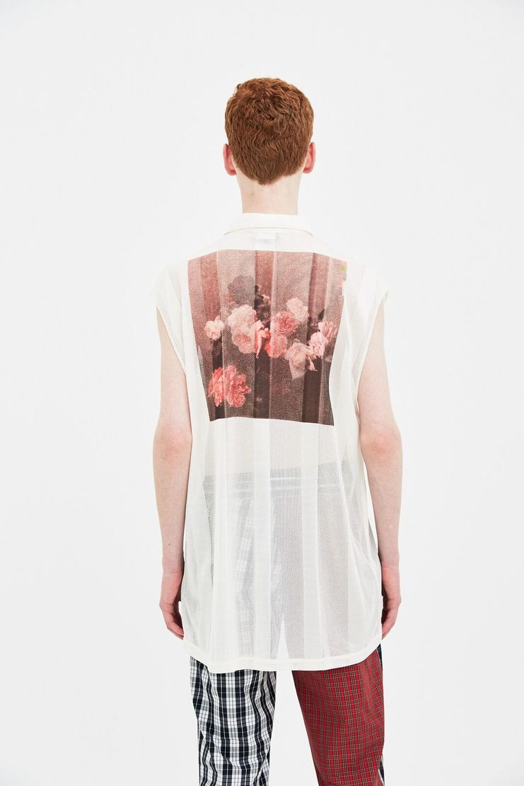 Raf simons new arrivals machine a showstudio S/S 18 beige sleeveless net top shirt 181-406-19011-00062 mesh sheer spring summer