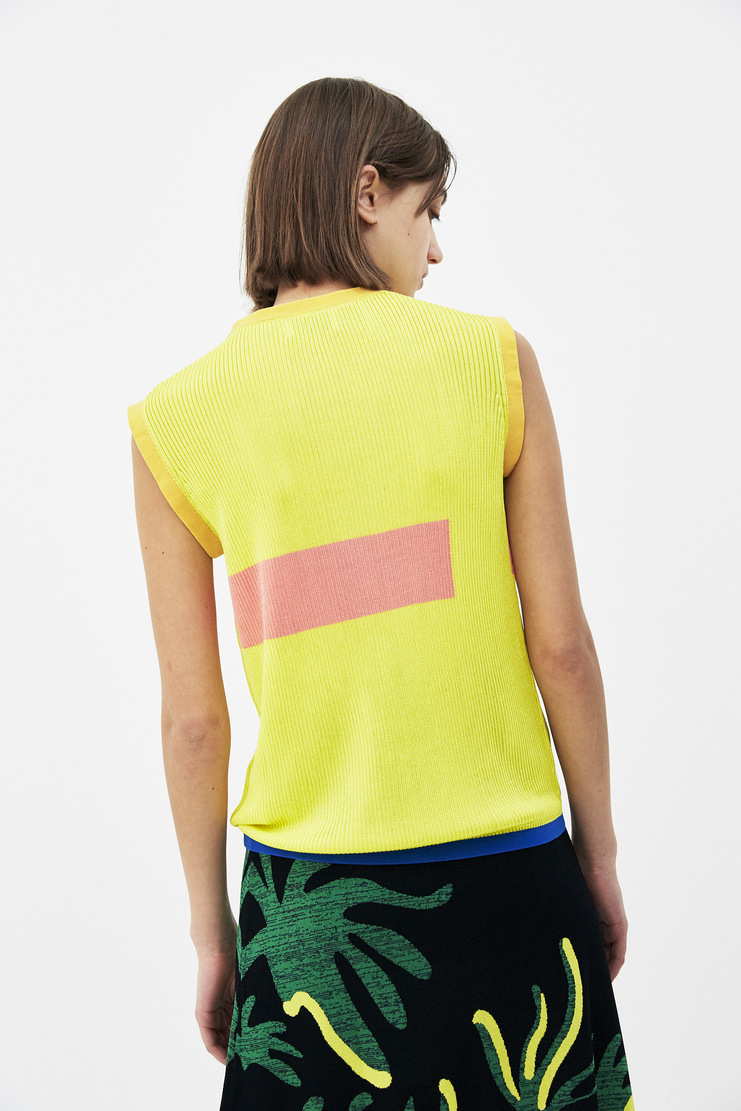 I Am Chen Yellow Sleeveless Printed Top new arrivals spring summer S/S 18 Machine A SHOWstudio CZV181004 tops womens