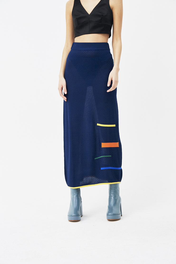I Am Chen Navy Long Printed Skirt new arrivals spring summer S/S 18 Machine A SHOWstudio womens skirts CZK181001