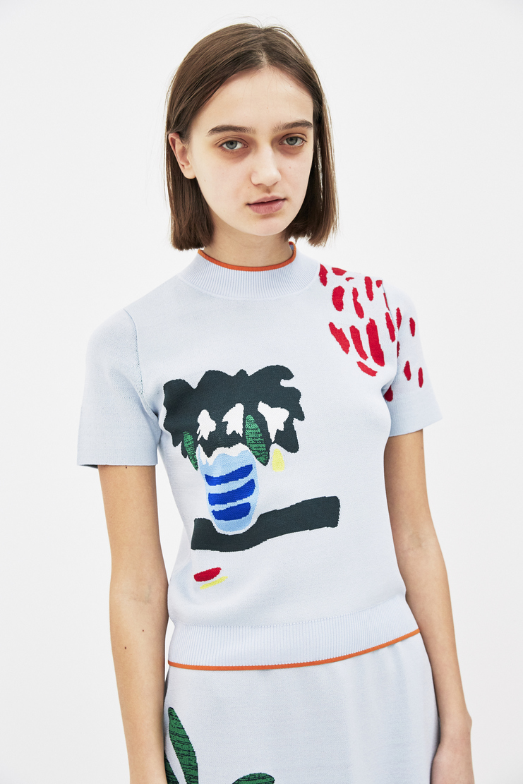 I am chen blue short sleeve printed vase top S/S 18 spring summer 2018 machine a show studio CZT181001