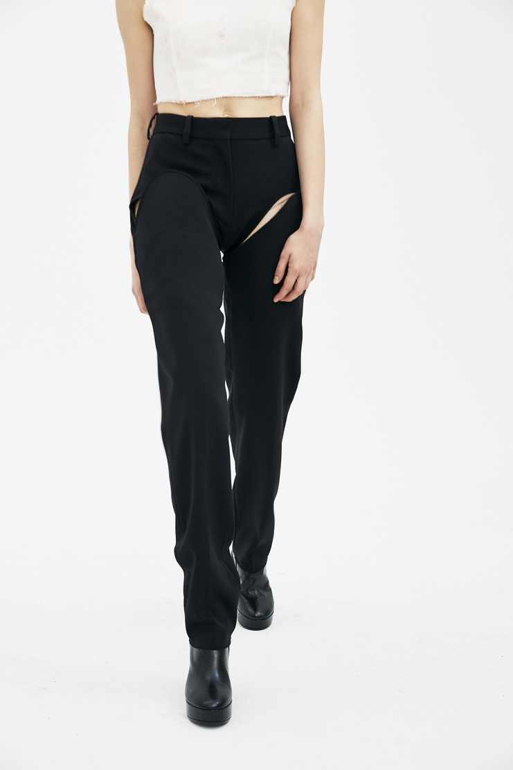 Y/Project Black Layered Trousers WPANT12-S14 new arrivals y project S/S 18 collection spring summer Machine A SHOWstudio trouser womens pants
