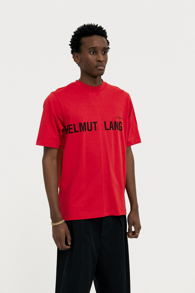 Helmut Lang by Shayne Oliver Red Printed T-shirt spring summer S/S 18 collection new arrivals Machine A SHOWstudio H10UW521 mens t-shirt tshirt tee prints