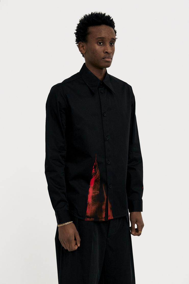 NAMACHEKO Red Painted Black Shirt s/s 18 spring summer 18 machine a showstudio new arrivals 01003CO