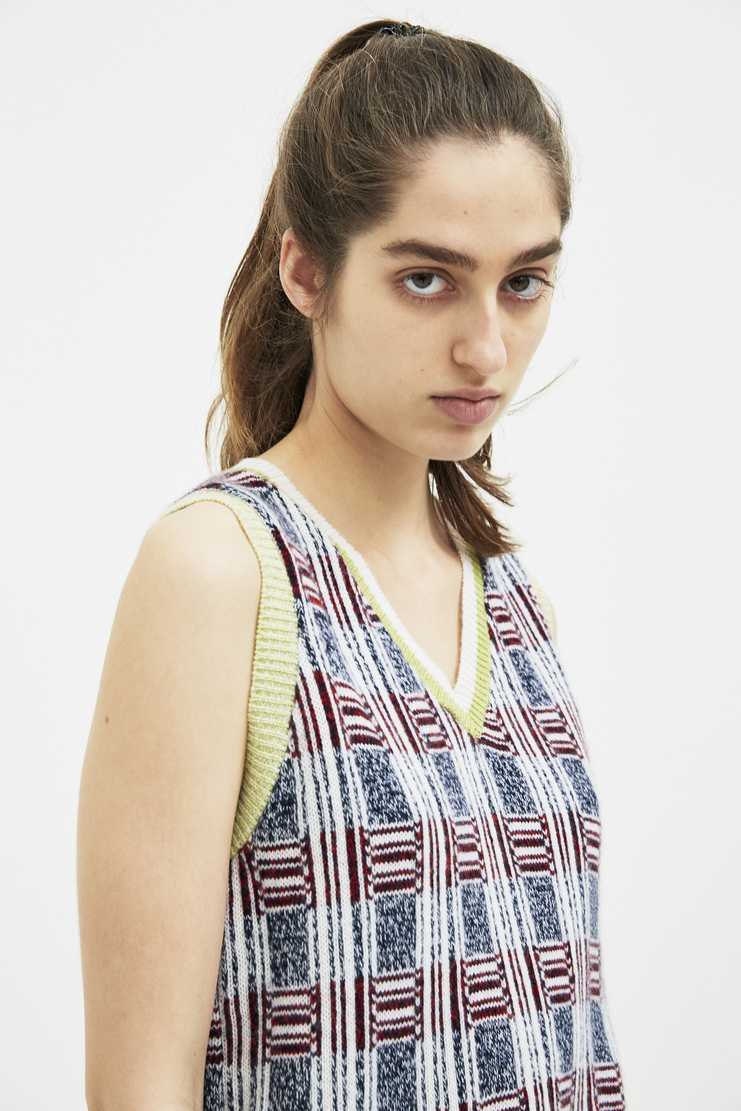 DELADA Multi Colour V Neck Vest new arrivals S/S 18 collection spring summer Machine A SHOWstudio womens DMS3VS1 unisex top vests