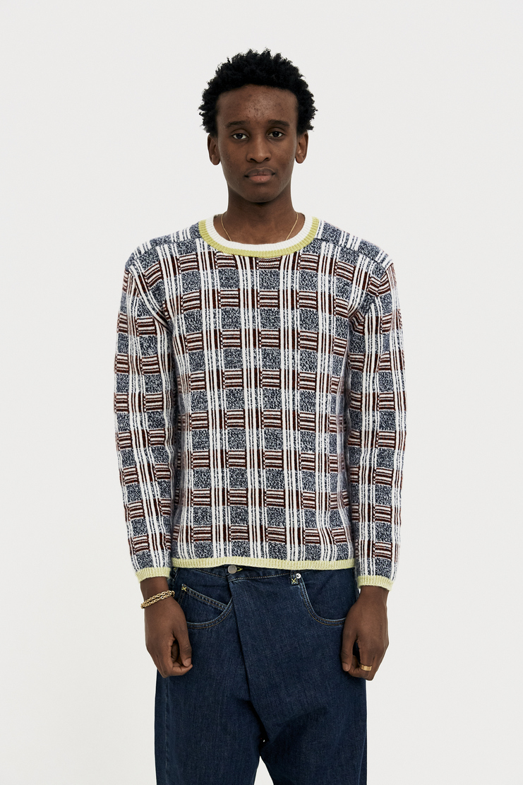 DELADA Multi Colour Check Jumper new arrivals S/S 18 collection spring summer Machine A SHOWstudio mens DMS3JP1 unisex top sweater