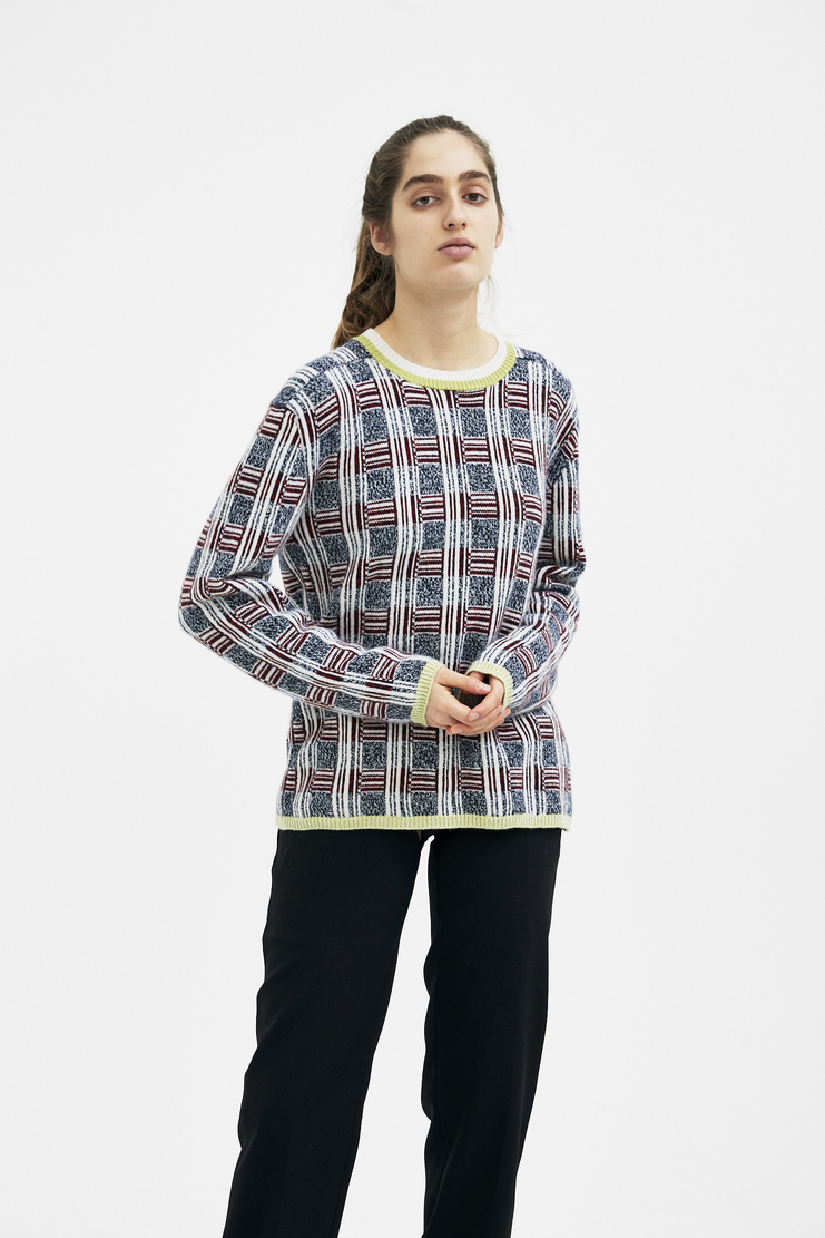 DELADA Multi Colour Check Jumper new arrivals S/S 18 collection spring summer Machine A SHOWstudio womens DMS3JP1 unisex top sweater