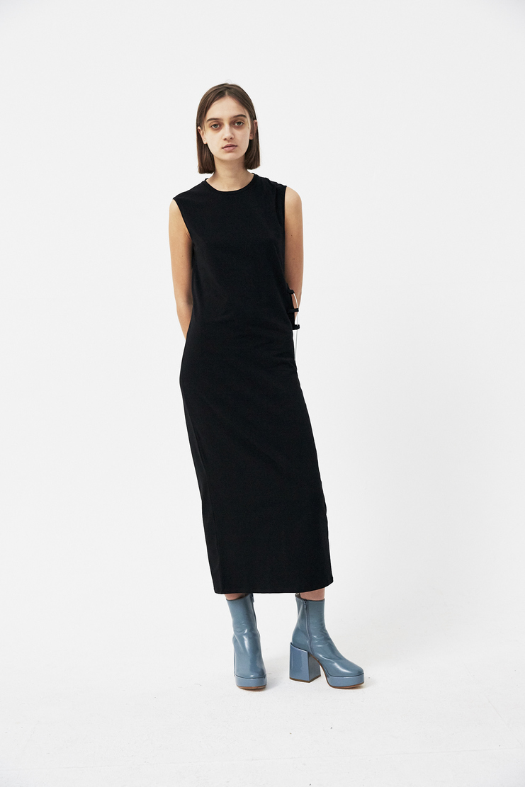 Alyx black jersey dress long S/S 18 spring summer new arrivals machine a showstudio 2018 AAWDR0012 metal cable insert