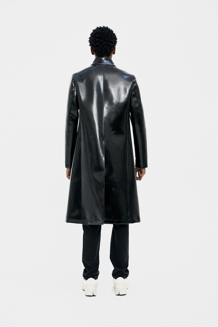 Raf Simons Black Slim Fit Coat s/s 18 spring summer 18 machine a showstudio new arrivals leather wet shiny heavy 181-624-40000-00099