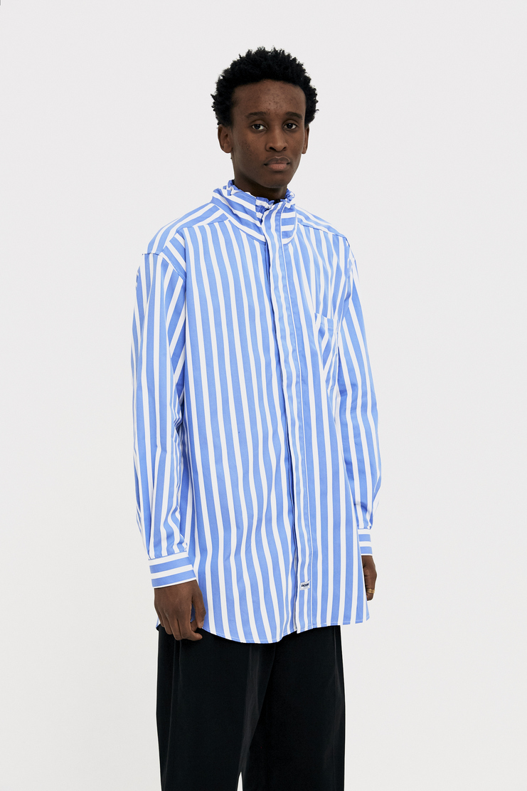 Martine Rose Blue Drawcord Shirt new arrivals S/S 18 spring summer collection SS18301 mens shirts Machine A SHOWstudio
