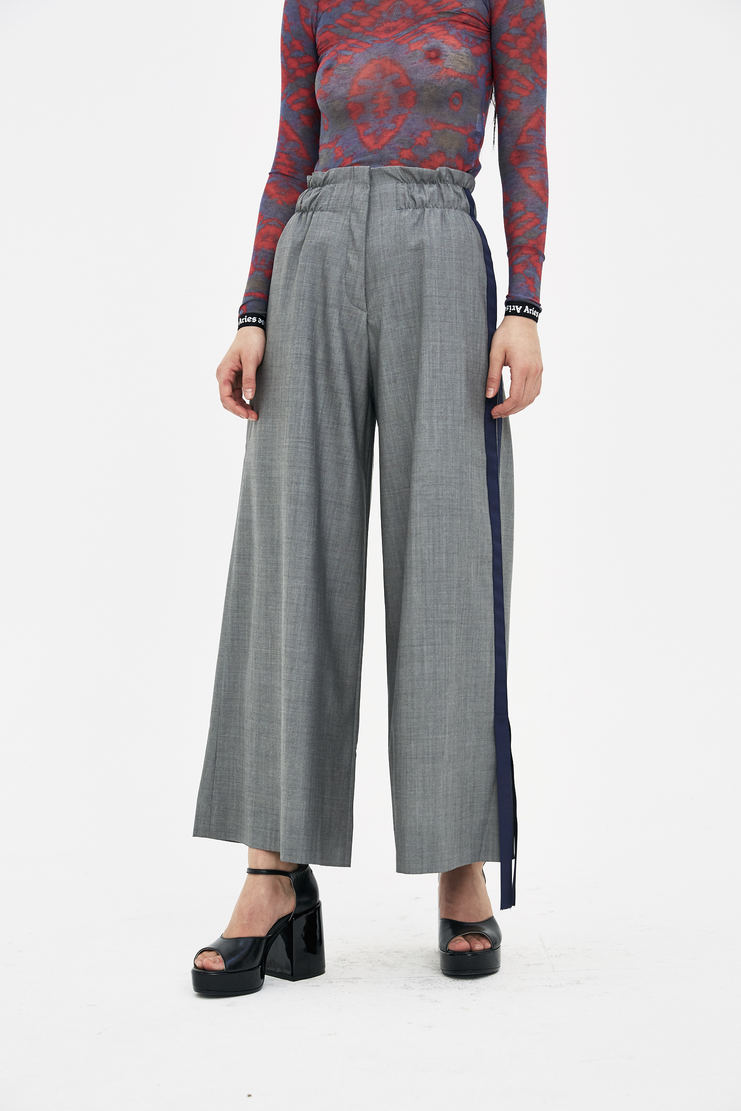 DELADA Grey Wide Leg Trousers S/S 18 spring summer collection DWSTR03 Machine A SHOWstudio womens trouser pants