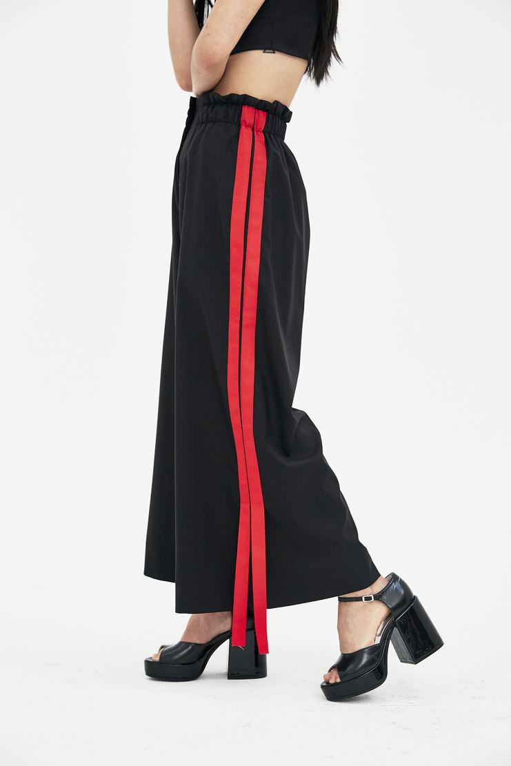 DELADA Black Wide Leg Trousers S/S 18 spring summer collection DWSTR03 Machine A SHOWstudio womens trouser pants