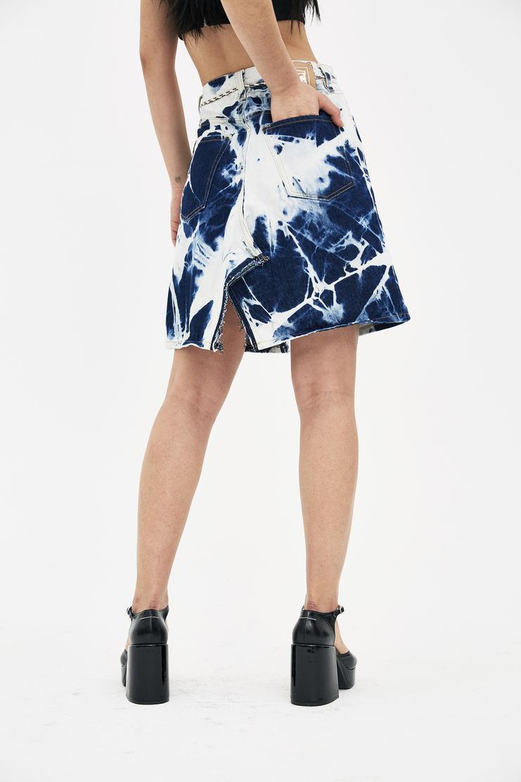 ARIES Dark Bleach Argyle Jeans Skirt S/S 18 spring summer collection womens Machine A SHOWstudio SOAR32504 skirts bleached