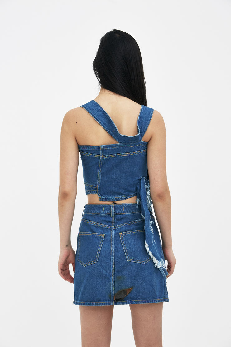 Ottolinger Blue Asymmetric Denim Top new arrivals SS18TO07 Machine A SHOWstudio S/S 18 spring summer collection womens tops sweaters halter