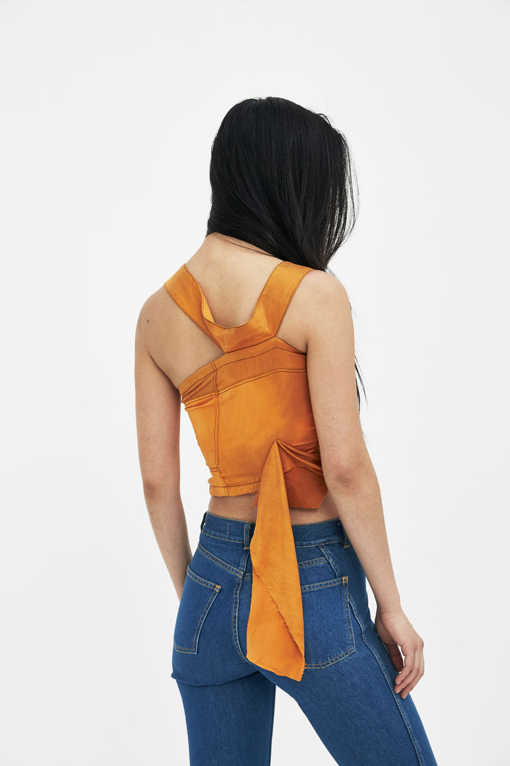 Ottolinger Orange Asymmetric Silk Top new arrivals SS18TO07 Machine A SHOWstudio S/S 18 spring summer collection womens tops sweaters halter