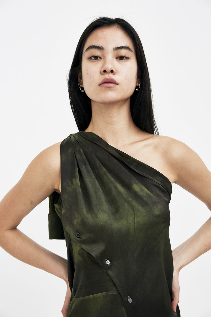 Ottolinger Green Knotted Sleeveless Shirt Dress new arrivals SS18DR05 Machine A SHOWstudio S/S 18 spring summer collection womens shirts dresses