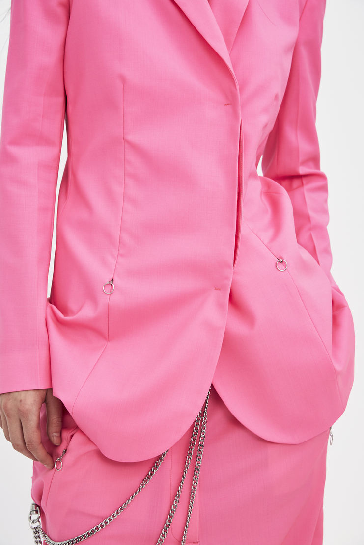 ALYX Gangster Trousers AAWPA0008A31 pink hot bright wide drop crotch belt leather chain relaxed casual ss18 s/s 18 spring summer suit set fluoro