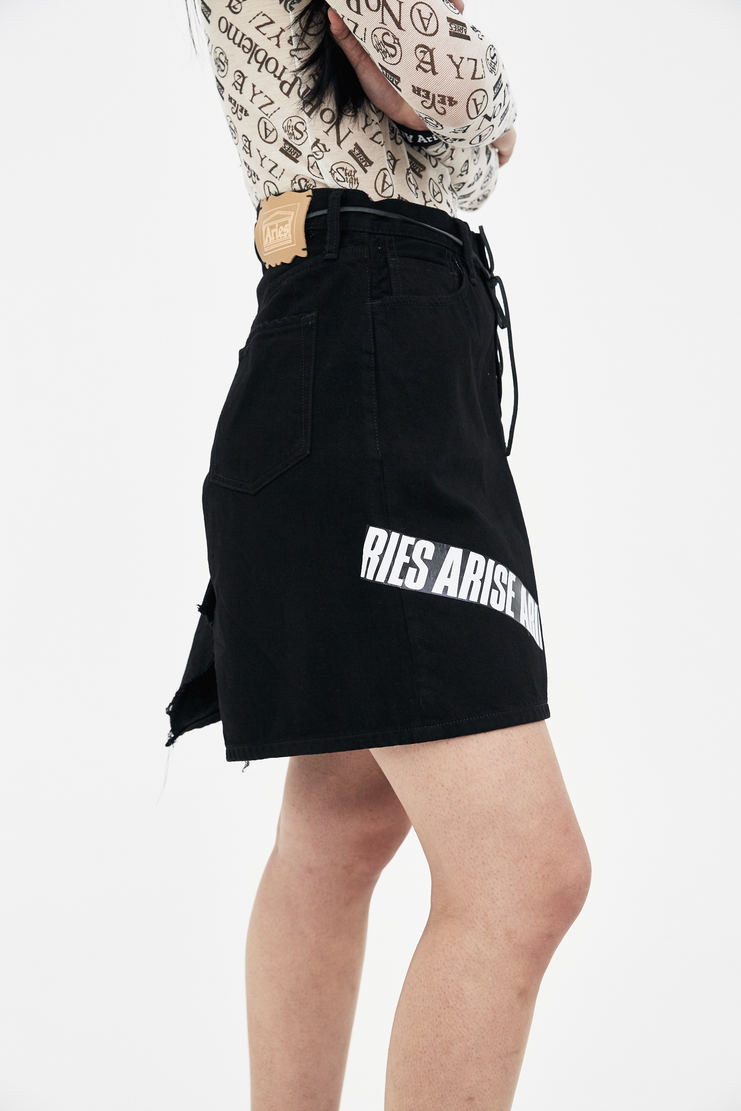 ARIES Black Tape Open Jeans Skirt arise spring summer collection S/S 18 Machine A SHOWstudio womens skirts SOAR31304