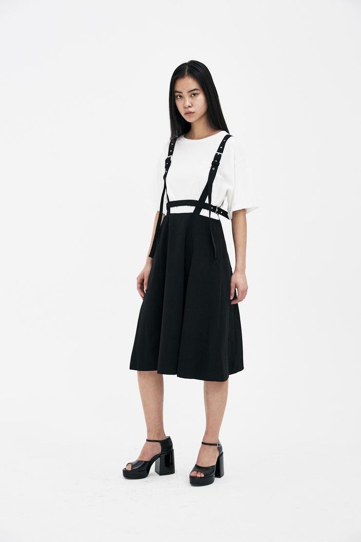 Noir Kei Ninomiya Black Jumper Skirt S/S 18 spring summer Machine A SHOWstudio new arrivals skirts womens 3A-A004-S18 suspender pinafore