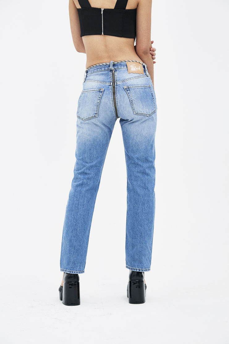 ARIES Pale Denim Lilly Zip Jeans arise spring summer collection S/S 18 Machine A SHOWstudio SOAR30401 womens zip jeans denim trousers