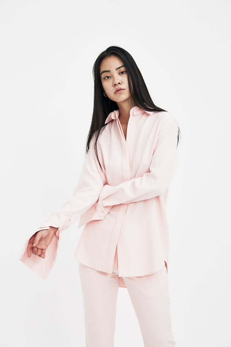 DELADA Pink Shirt with Removable Cuffs S/S 18 spring summer collection DWS3SH03 Machine A SHOWstudio womens shirts