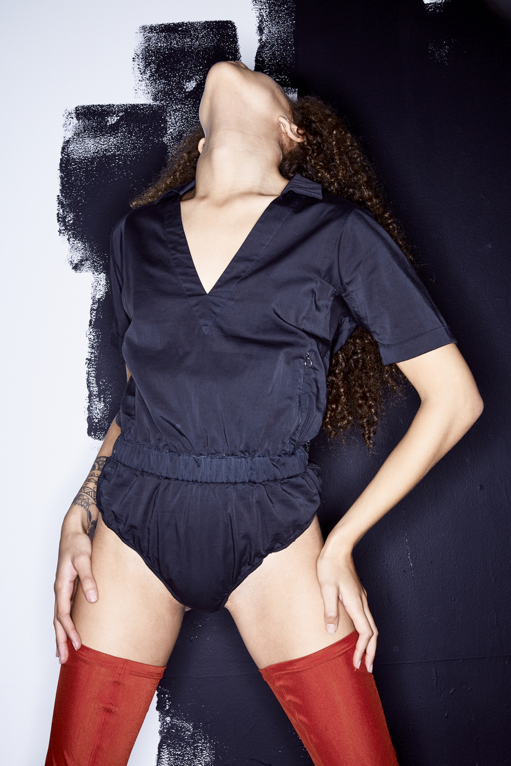 ALYX Black Boxer Bodysuit alyx studio spring summer collection S/S 18 Machine A SHOWstudio AAWBD0001A01 womens tops bodysuits