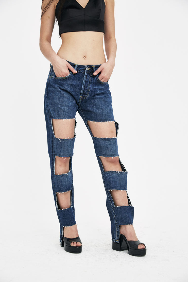 Lutz Huelle Dark Navy Cut Out Denim JS1000 new arrivals S/S 18 collection spring summer womens Machine A SHOWstudio jeans