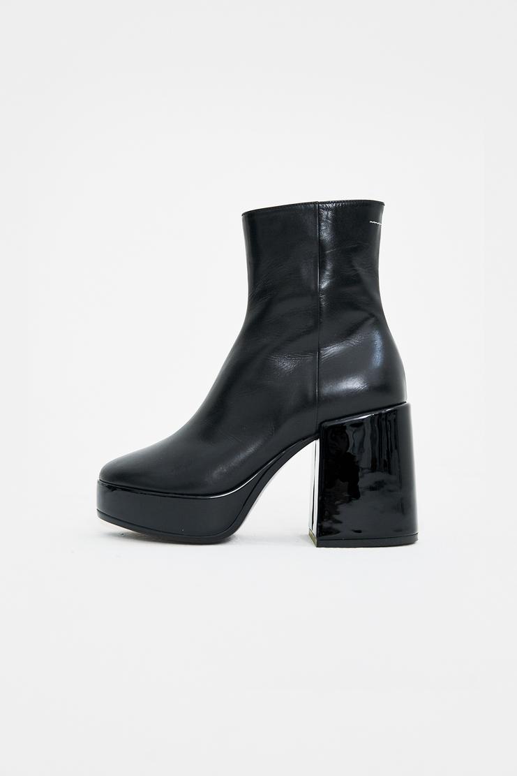 MM6 Black Platform Boots MM6 Chunky Heel Almond Toed 4 inch 5 inches 20 cm centimetre Ankle Heels Shoes S/S 18 SS18 SHOWstudio Machine-A Margela Margella Mason Maisom Margeila Maison Margiela MMM6 S59WU0047