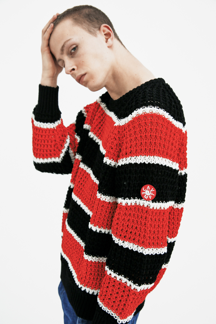 Cav Empt Red and Black Striped Loose Waffle Knit S/S 18 spring summer collection Machine A SHOWstudio mens CES13KN03 sweaters knitwear