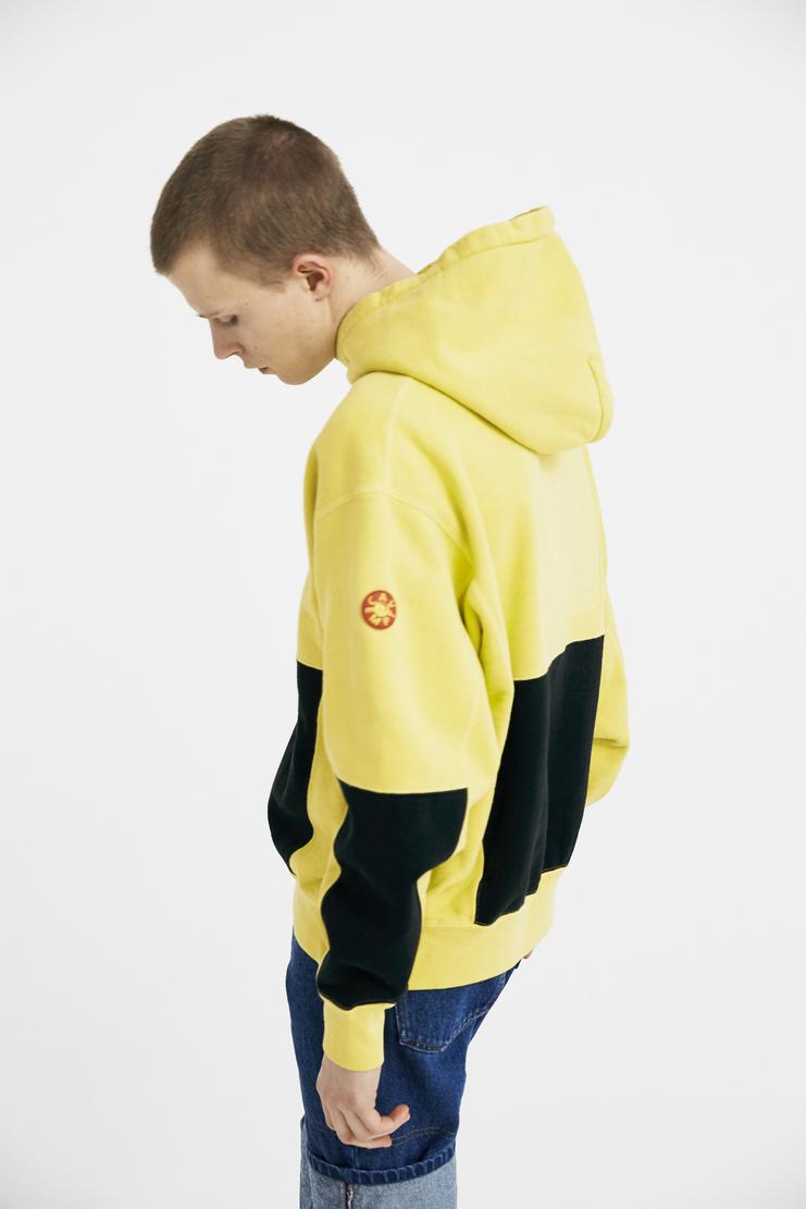 Cav Empt Yellow Overdye Ziggurat Patch Hoodie S/S 18 spring summer collection Machine A SHOWstudio mens CES13CS13 hoodies sweater jumper