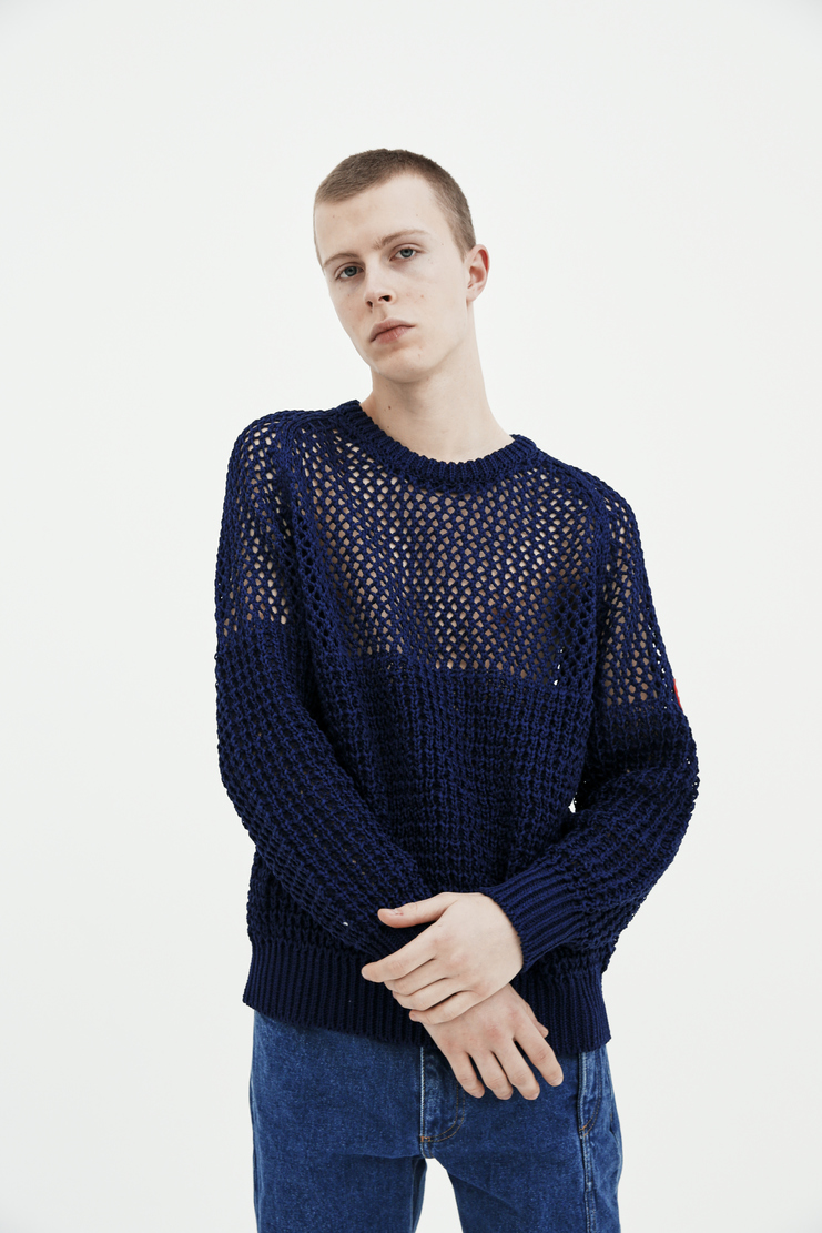 Cav Empt blue navy Loose Waffle Knit S/S 18 spring summer collection Machine A SHOWstudio mens CES13KN03 sweaters knitwear