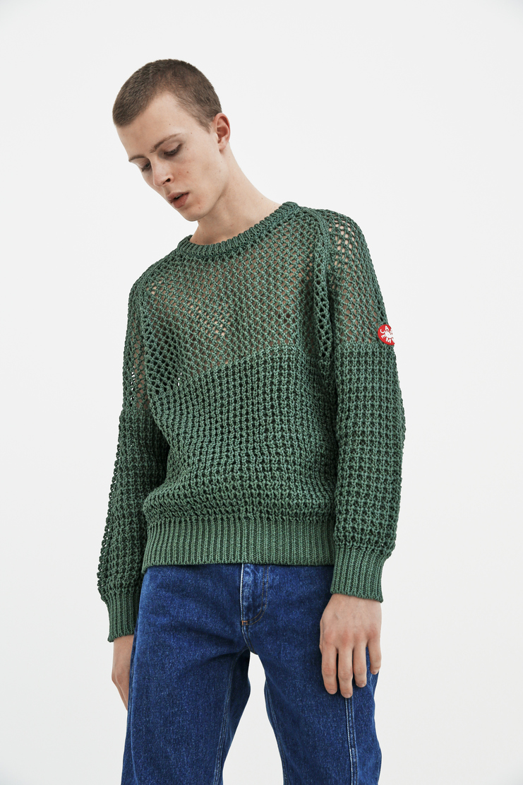 Cav Empt green Loose Waffle Knit S/S 18 spring summer collection Machine A SHOWstudio mens CES13KN03 sweaters knitwear