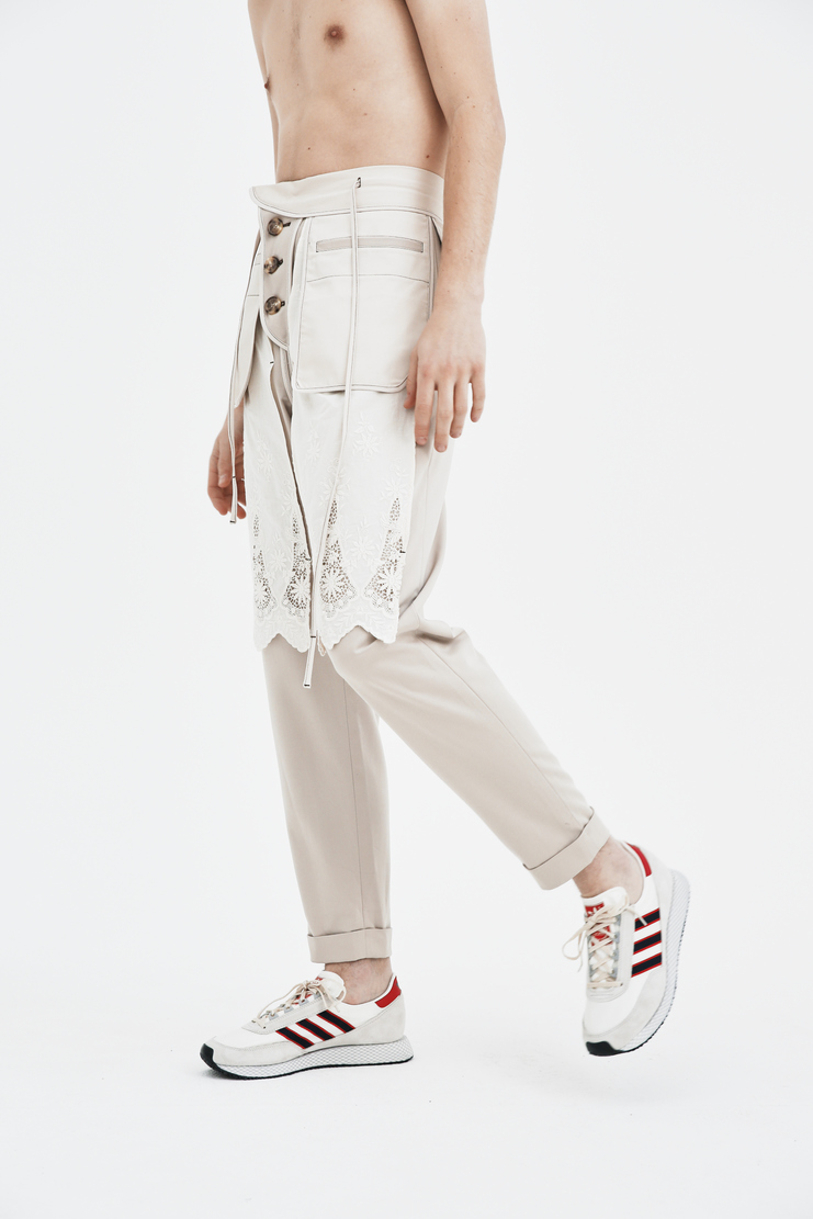 The Sirius Reversed Trousers With Lace botoms cream beige lace white panel ss18 spring summer 2018 south korea korean Lace Cotton Trousers