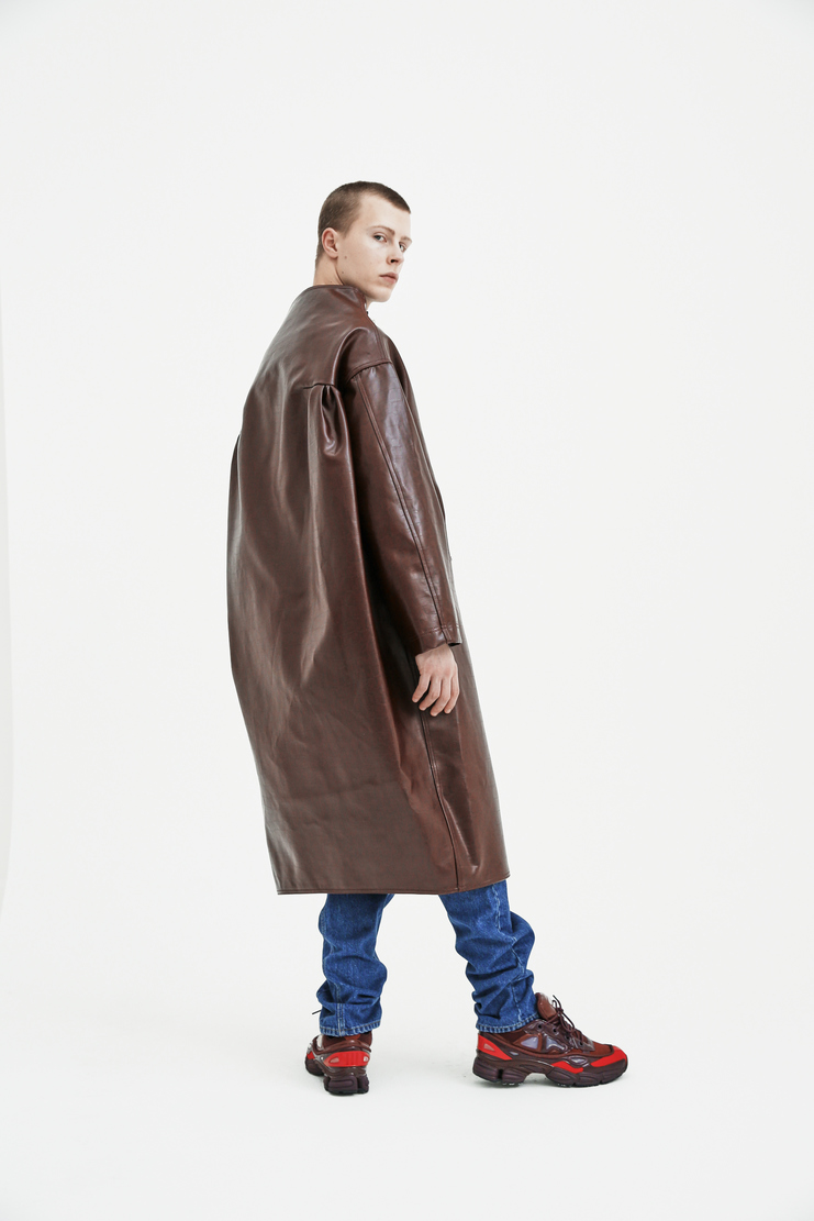 Raf Simons Dune Coat ss18 spring summer 2018 ras simmons jacket leather fireman oversized buckle blue red