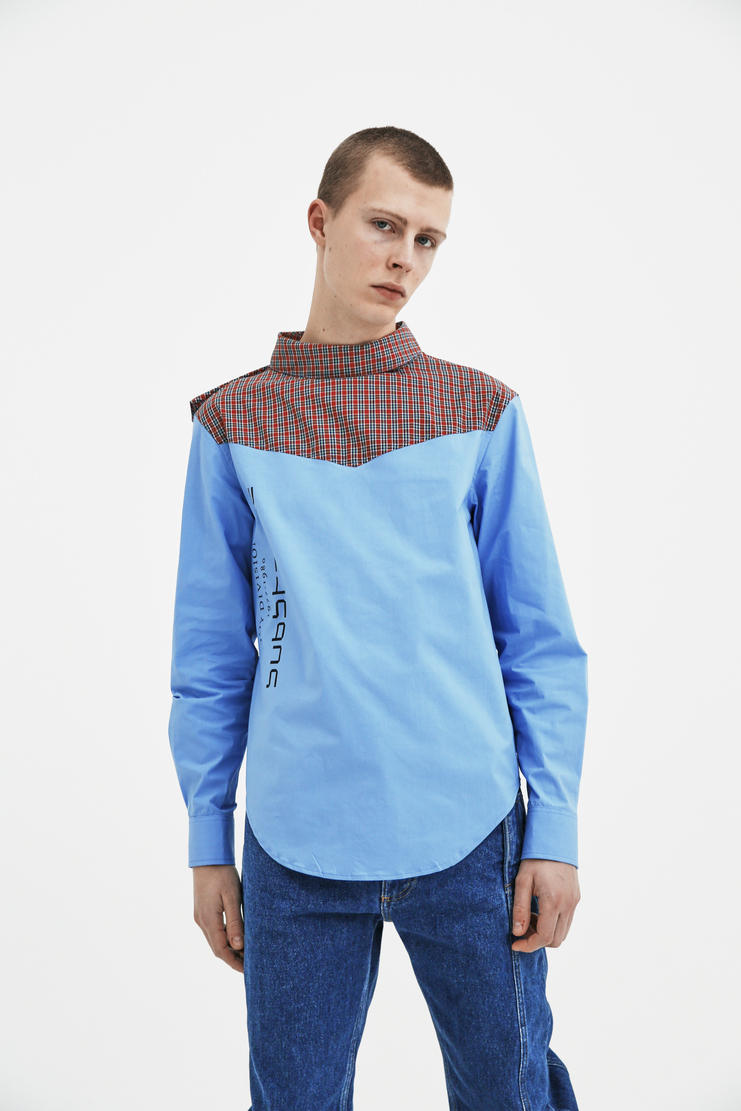 Raf Simons Blue Shirt with Side Closure Peter Saville Joy Division Substance top ss18 spring summer 2018